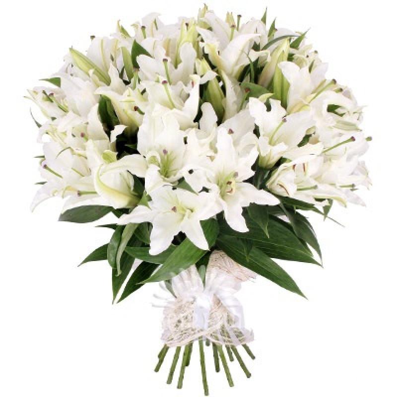 Букет из 101 белой лилии